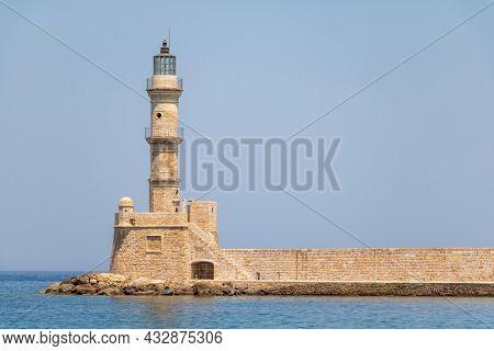 Greece, Crete, Chania an old harbor lighthouse