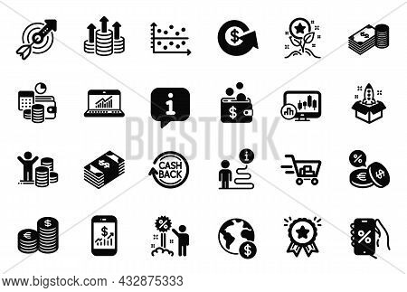Vector Set Of Finance Icons Related To Online Statistics, Cashback And Usd Currency Icons. Savings,