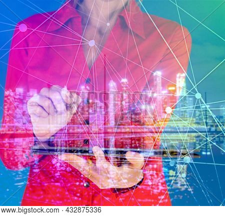 5G and Smart technology in modern city communication with graphic interface icon showing concept of digital transformation,internet of things (IOT), smart wireless and communication technology (ICT)