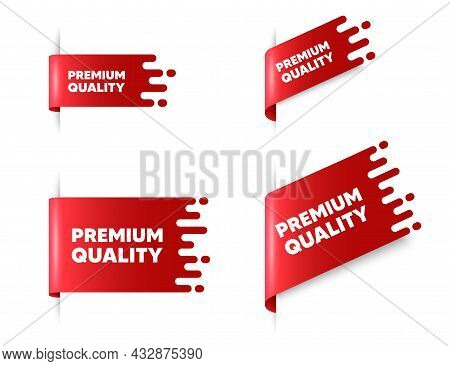 Premium Quality Text. Red Ribbon Tag Banners Set. High Product Sign. Top Offer Symbol. Premium Quali