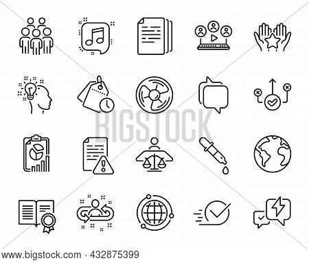 Vector Set Of Correct Way, Court Judge And Instruction Manual Line Icons Set. Report, Video Conferen