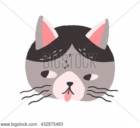 Cute Cats Face With Tongue Out. Head Of Naughty Feline Animal. Funny Kitty Muzzle With Mustache. Ado