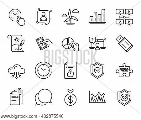 Vector Set Of Chat Message, Approved Shield And Document Attachment Line Icons Set. Contactless Paym