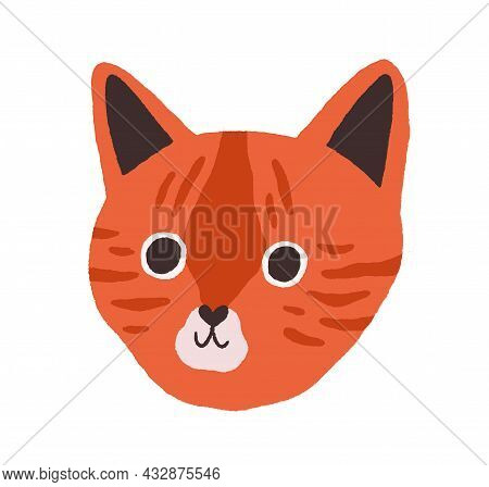 Cute Cats Face. Head Of Feline Animal. Funny Kitty Muzzle With Lovely Sweet Eyes. Adorable Kittens S
