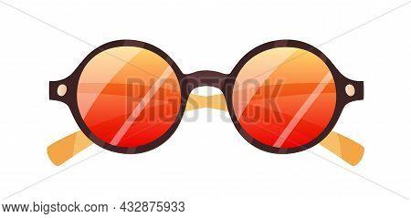 Fashion Round Sunglasses. Stylish Retro Sun Glasses With Circle-shaped Lenses And Plastic Rim. Summe