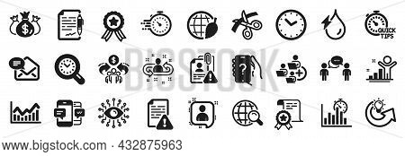 Set Of Education Icons, Such As Winner, Share Idea, Infochart Icons. Sharing Economy, Agreement Docu