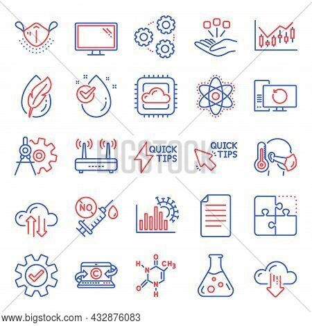 Science Icons Set. Included Icon As Cloud Sync, Hypoallergenic Tested, Cloud Computing Signs. Financ