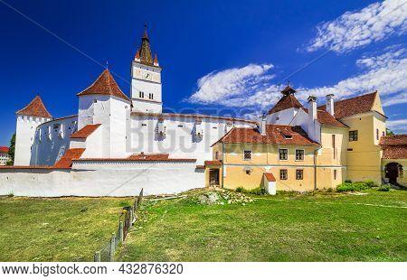 Harman, Romania. Fortified Old Saxon Church, Travel Sight In Medieval Transylvania.