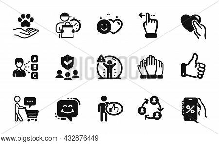 Vector Set Of Hold Heart, Vote And Like Icons Simple Set. Social Distance, Pets Care And Delivery Ma