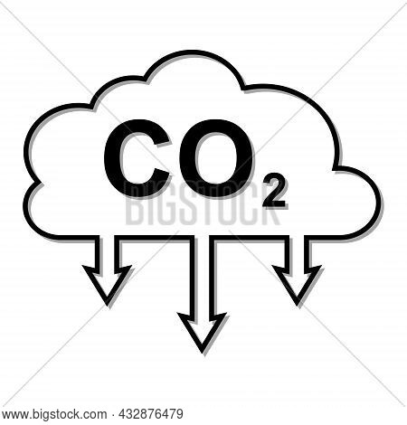 Icon Carbon Dioxide Emissions Co2 Cloud With A Shadow. Business Concept For Reducing Co2 Gas Emissio