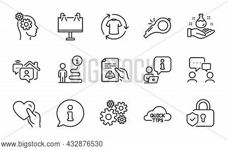 Business Icons Set. Included Icon As People Chatting, Change Clothes, Technical Documentation Signs.