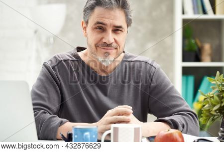 Portrait of man at home sitting at desk, working, looking at camera. Happy smile, grey hair, beard. Portrait of mature age, middle age, mid adult man in 50s.