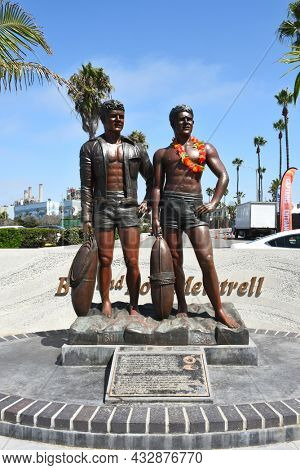 REDONDO BEACH, CALIFORNIA - 10 SEP 2021: Bill and Bob Meistrell Memorial. The Twin brother lifeguards and founders of the Body Glove Brand.