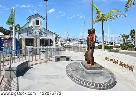 REDONDO BEACH, CALIFORNIA - 10 SEP 2021: Bill and Bob Meistrell Memorial, the twin brother lifeguards and founders of the Body Glove Brand.