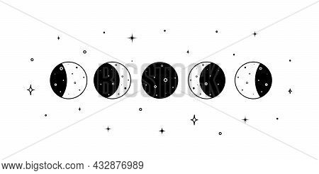 Set Of Moon Phases. Crescent, New, Full, Surface And Eclipse. Astronomy Cycle Of Satellite On The Wh