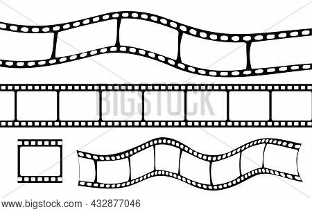 Set Of Film Strip. Black And White Images. Retro Video Recording, Montage, Broke. Graphic Element Fo