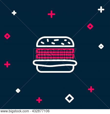 Line Burger Icon Isolated On Blue Background. Hamburger Icon. Cheeseburger Sandwich Sign. Fast Food
