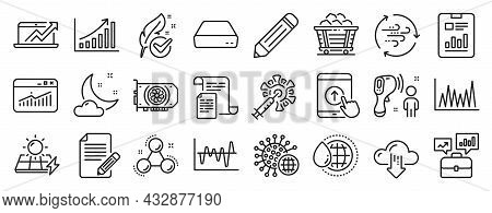 Set Of Science Icons, Such As Stock Analysis, Night Weather, Website Statistics Icons. Graph Chart,