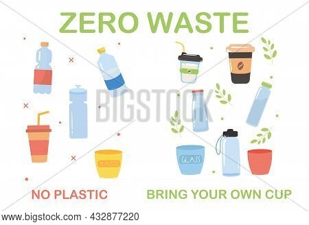 Zero Waste Concept. Plastic Recycling, Care For Nature, Ecology. Correct Use Of Waste. Correct Messa