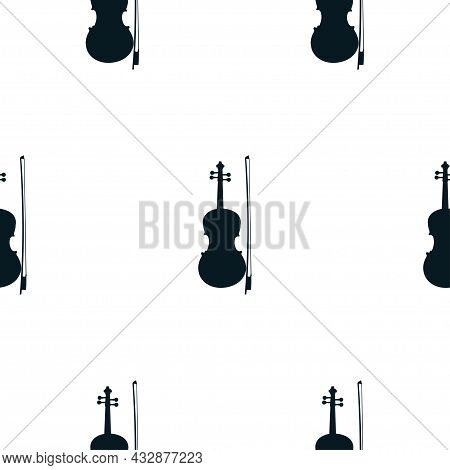 Seamless Pattern Of Silhouette Violins On White Background, Icon Classical Musical Instruments. Vect
