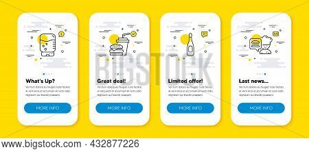 Vector Set Of Water Cooler, Hamburger And Champagne Line Icons Set. Ui Phone App Screens With Line I