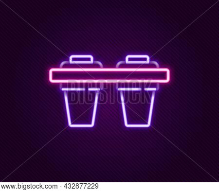 Glowing Neon Line Water Filter Icon Isolated On Black Background. System For Filtration Of Water. Re