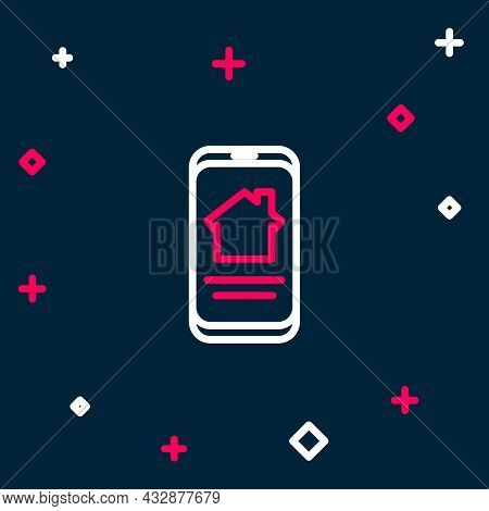 Line Online Real Estate House On Smartphone Icon Isolated On Blue Background. Home Loan Concept, Ren
