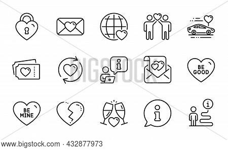 Love Icons Set. Included Icon As Be Mine, Love Tickets, Honeymoon Travel Signs. Be Good, Broken Hear