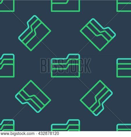 Line Document Folder Icon Isolated Seamless Pattern On Blue Background. Accounting Binder Symbol. Bo