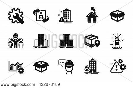 Vector Set Of Warning, Lighthouse And Buildings Icons Simple Set. Technical Algorithm, Building Warn