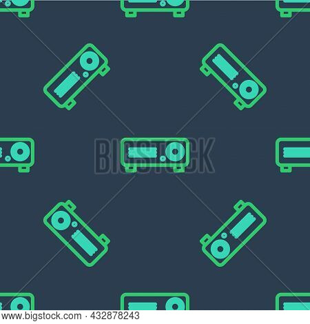 Line Presentation, Movie, Film, Media Projector Icon Isolated Seamless Pattern On Blue Background. V