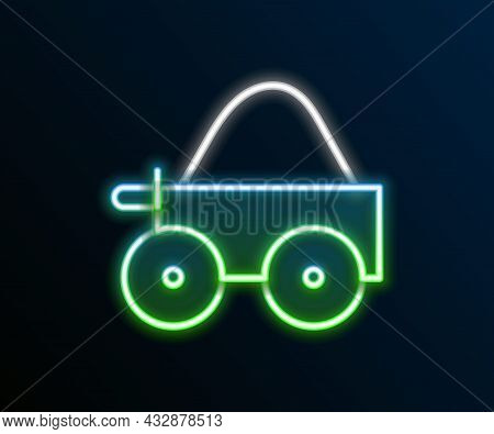 Glowing Neon Line Wooden Four-wheel Cart With Hay Icon Isolated On Black Background. Colorful Outlin