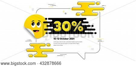30 Percent Off Sale. Cartoon Face Sticker With Chat Bubble Frame. Discount Offer Price Sign. Special