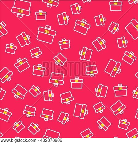 Line Briefcase Icon Isolated Seamless Pattern On Red Background. Business Case Sign. Business Portfo
