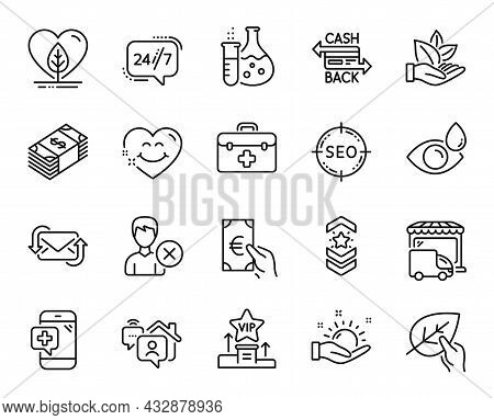 Vector Set Of Work Home, Local Grown And Shoulder Strap Line Icons Set. Eye Drops, Cashback Card And