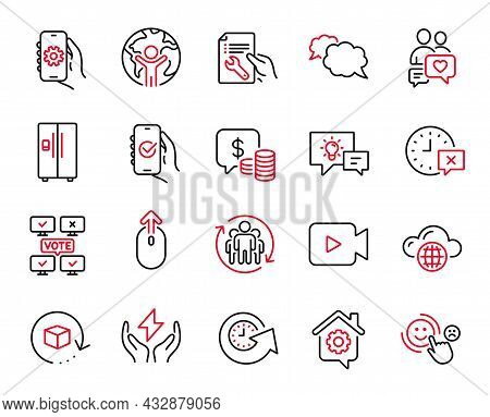 Vector Set Of Technology Icons Related To Approved App, Online Voting And Update Time Icons. Teamwor