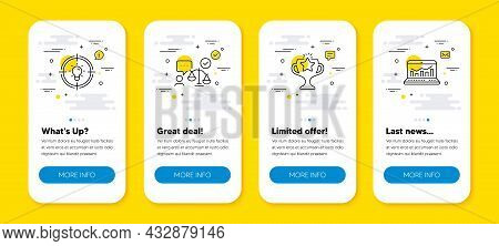 Vector Set Of Idea, Victory And Lawyer Line Icons Set. Ui Phone App Screens With Line Icons. Web Ana