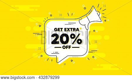 Get Extra 20 Percent Off Sale. Alert Megaphone Yellow Chat Banner. Discount Offer Price Sign. Specia