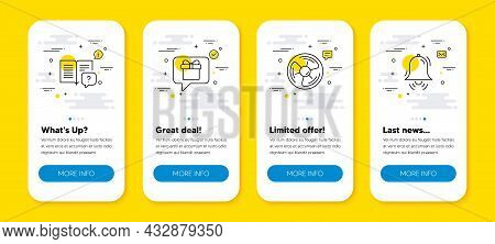 Vector Set Of Air Fan, Wish List And Instruction Manual Line Icons Set. Ui Phone App Screens With Li