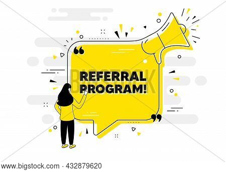 Referral Program Text. Alert Megaphone Chat Banner With User. Refer A Friend Sign. Advertising Refer