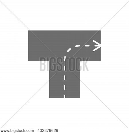 Road With Direction, Intersection, Turn Right Grey Icon.