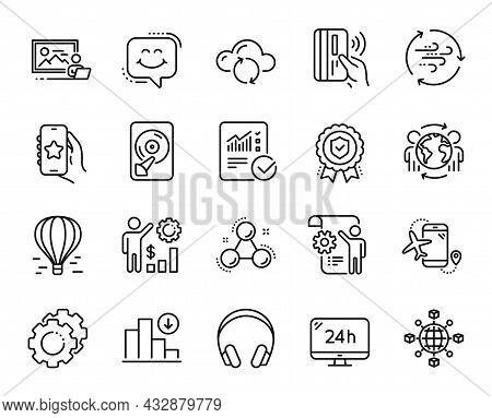 Vector Set Of Settings Gears, Settings Blueprint And Headphones Line Icons Set. Favorite App, Cloud