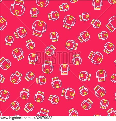Line Kosovorotka Is A Traditional Russian Shirt Icon Isolated Seamless Pattern On Red Background. Tr
