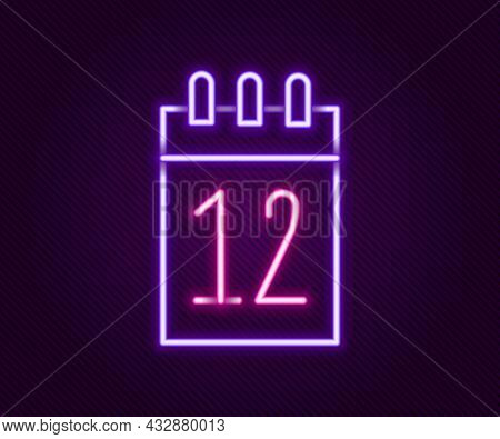 Glowing Neon Line Calendar 12 June Icon Isolated On Black Background. Russian Language 12 June Happy