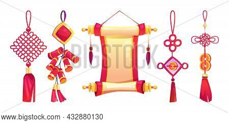 Chinese New Year Hanging Decor With Tassels, Scroll, Firecracker Isolated Cartoon Icons Set. Vector