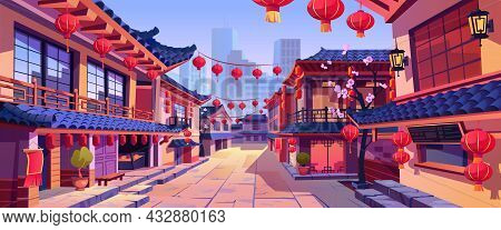 Chinese New Year Street Festively Decorated With Lanterns, Chinatown City Background. Vector Panoram