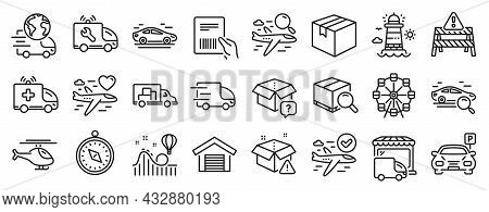Set Of Transportation Icons, Such As Ambulance Car, Truck Transport, Search Package Icons. Parcel In