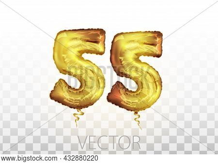 Vector Golden Foil Number 55 Fifty Five Metallic Balloon. Party Decoration Golden Balloons. Annivers