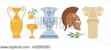 Antique Greek Objects Isolated Flat Cartoon Icons Set. Vector Retro Marble Column, Helmet And Classi