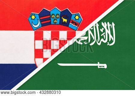 Croatia And Saudi Arabia, Symbol Of Country. Croatian Vs Arabian National Flags.